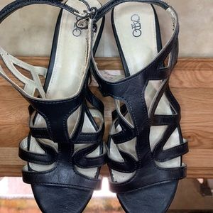 Cato Black Caged Woven Heel Sandals Size 8w